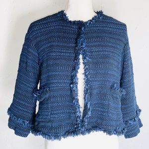 Marella Knitted Jacket/ Bolero in Blue Sz. 6